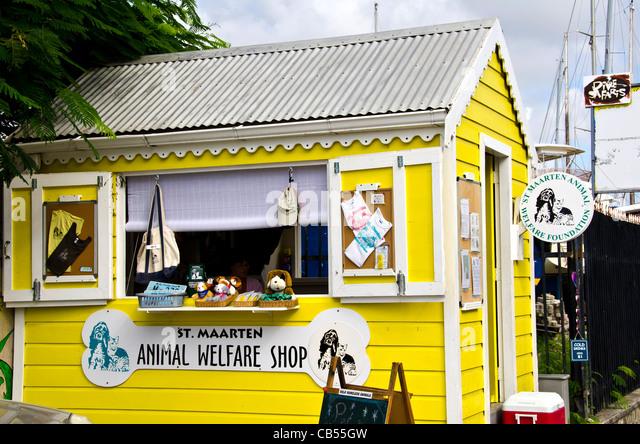 St Maarten Philipsburg front street animal welfare shop - Stock Image