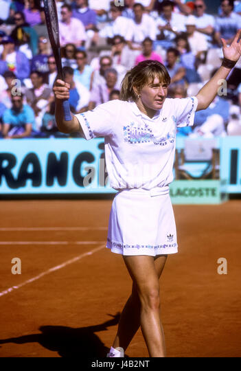 Steffi Graf (GER) competing at the 1989 French Open. - Stock-Bilder