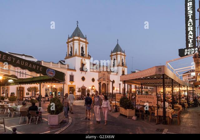 Plaza del Socorro at twilight, Ronda, Andalusia, Spain - Stock Image