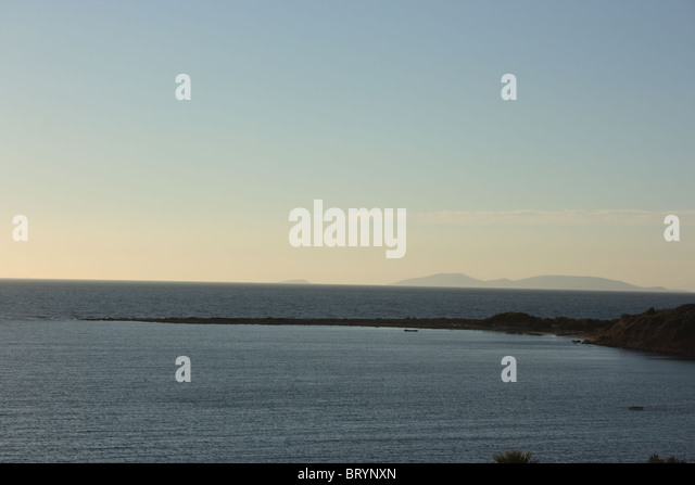 Ocean horizon at sunset in Turkey - Stock Image