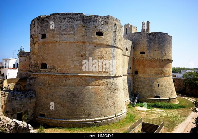 Otranto, Apulia, Italy. The Castello Aragonese (Castle), reinforced by Emperor Frederick II and rebuilt by Alphonso - Stock Image