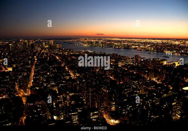 Night view of New York City New York USA - Stock Image