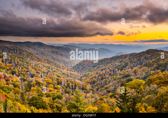 Autumn sunset in the Smoky Mountains National Park. - Stock Image