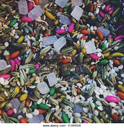 Full Frame Shot Of Multi Colored Fennel Seeds - Stock-Bilder