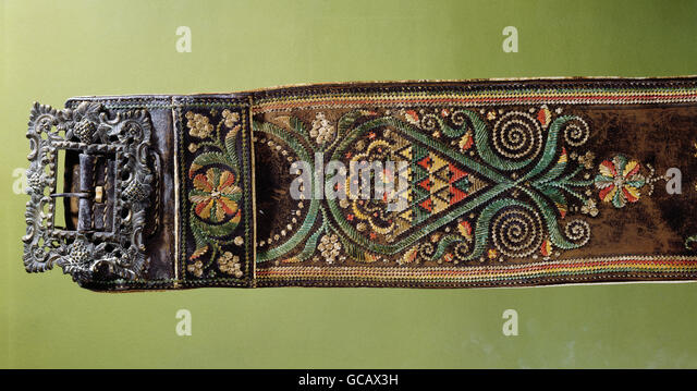 fine arts, Alpine folk art, tapestry, embroidery, quill embroidery on leather, costume belt, 19th century, - Stock Image