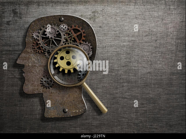 Psychology or invent concept. Brain model with magnifying glass 3d illustration. - Stock Image