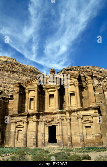 Facade of Ad Deir, the ancient rock-cut monastery in Petra, Jordan. - Stock Image