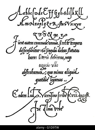 Page from Arrighi's Operina writing manual of 1539 showing handwriting styles of 16th century, early renaissance. - Stock-Bilder