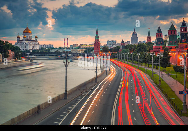 Moscow at dusk - Stock Image