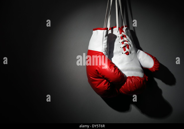 Hang up your boxing gloves - Stock Image