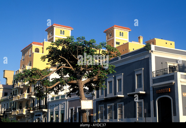 Puerto Rico Old San Juan building off Plaza Colon - Stock Image