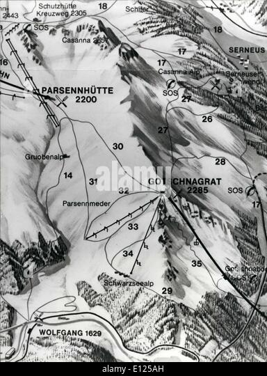 Mar. 03, 1988 - Klosters/Switzerland: Royal Ski Tragedy: Map shows ''Casa Forestal'' at Wolfgang - Stock Image