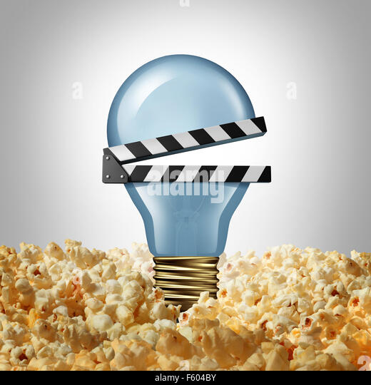 Movie idea concept and cinema creativity symbol as a light bulb or lightbulb in popcorn shaped as an open clap board - Stock Image