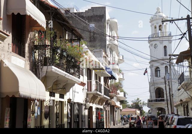 Santo Domingo Dominican Republic Ciudad Colonia Calle Merino Palacio Consistorial historic building tower clock - Stock Image