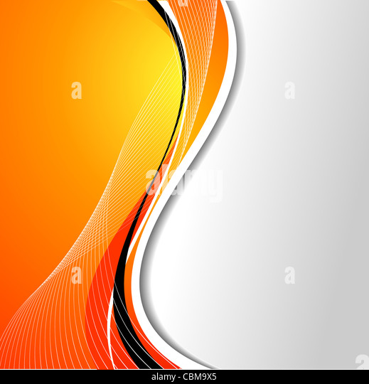 Abstract background with flowing lines in orange tones - Stock Image