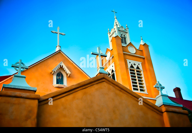 Low angle view of a church, New Mexico, USA - Stock Image