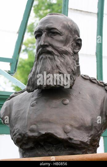 Bust of the infamous King Leopold II of Belgium (1935 - 1909) in the Royal Palace in Laeken, Belgium. - Stock-Bilder