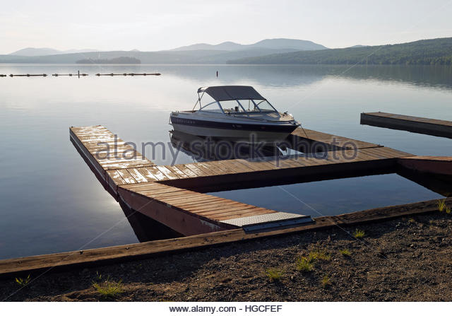 View of the boating area at Rangeley Lake State Park, Maine, USA. - Stock Image