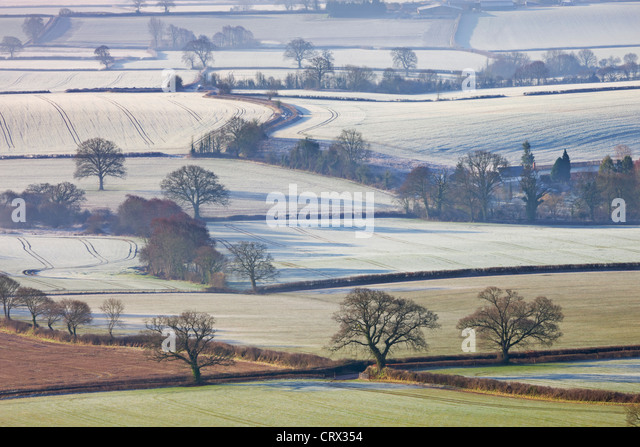 Frosted winter fields near Shobrooke, Devon, England. Winter (March) 2010. - Stock Image