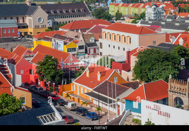 Looking down on historical Dutch buildings Otrobanda Willemstad Curacao - Stock Image