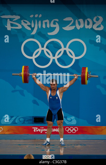 Konstantinos Gkaripis (GRE) competing in the Weightlifting 94kg class at the 2008 Olympic Summer Games, Beijing, - Stock Image