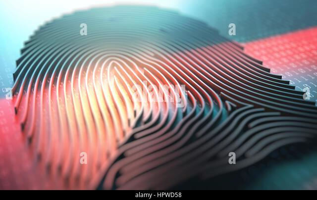 Three dimensional finger print, illustration. - Stock-Bilder