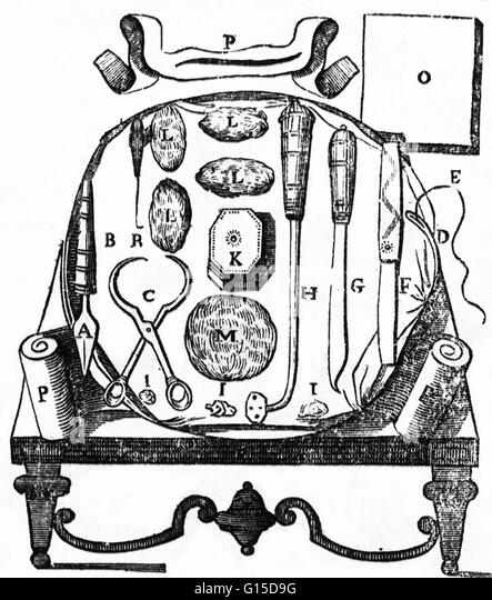 An historical illustration of surgical tools. - Stock Image