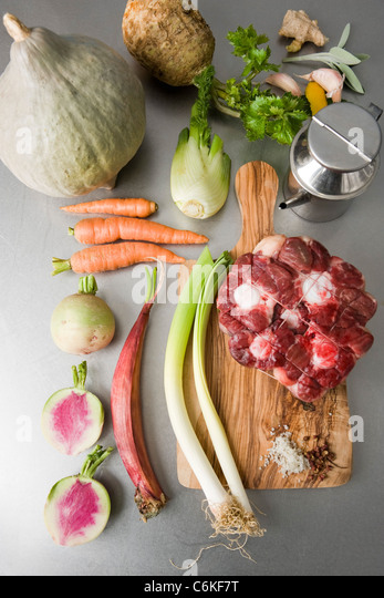 Oxtail stew with winter squash and mantanghong radish - Stock Image