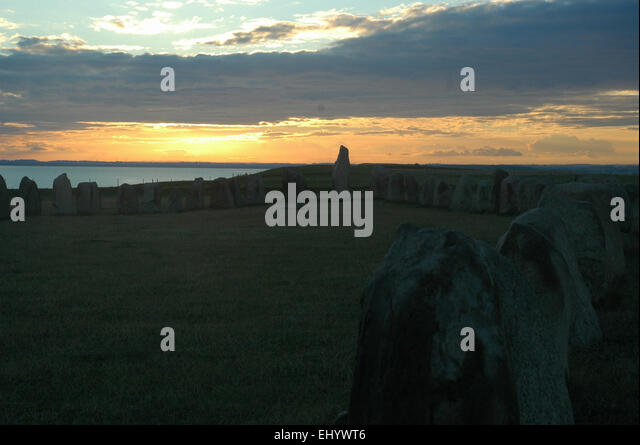 Sweden, Europe, south coast, ales stenar, megaliths, boat grave, ship burial, Skane, Ystad, kaseberga, ship setting, - Stock Image