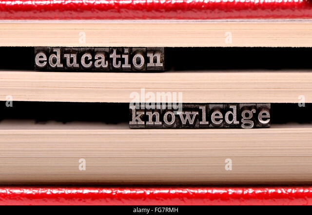 Letterpress characters spelling out education / knowledge - Stock Image