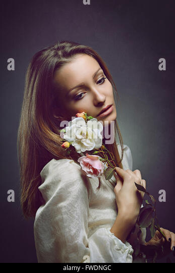 Portrait of sad beautiful woman. Purity and innocence - Stock-Bilder