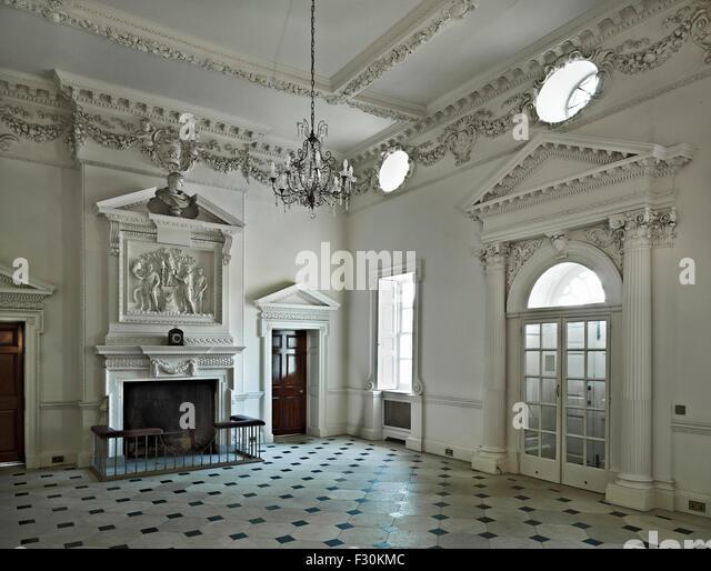 Godmersham Park, Kent, entrance hall - Stock Image