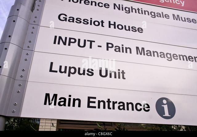St Thomas Hospital London sign - Stock Image