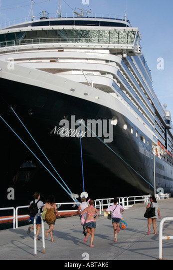 BVI Tortola Road Town Cruise Ship Dock Holland America Caribbean cruise ms Noordam - Stock Image