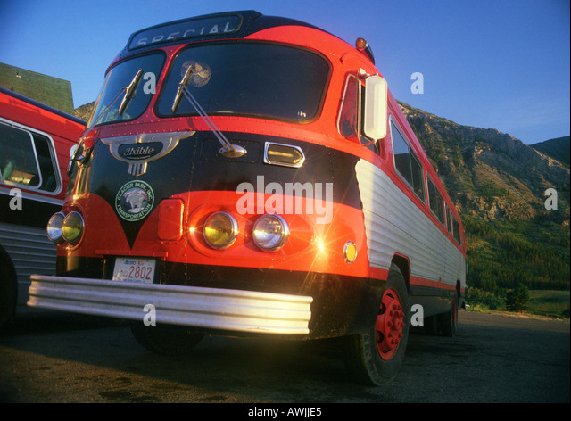Tour buses, Glacier National Park, Montana, United States - Stock Image