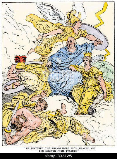 French cartoon showing Benjamin Franklin's popularity: 'He snatched the thunderbolt from Heaven'. - Stock-Bilder