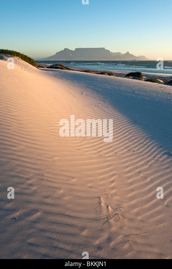 Spectacular View of Table Mountain from Big Bay at Sunset. Cape Town, South Africa - Stock Image