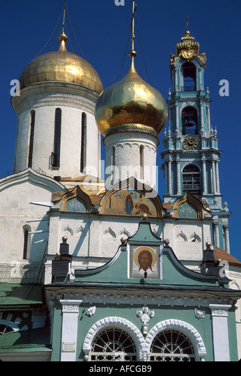Russia former Soviet Union Zagorsk Sergiyev Posad Trinity Monastery of St. Sergius Bell Tower Trinity Cathedral - Stock Image