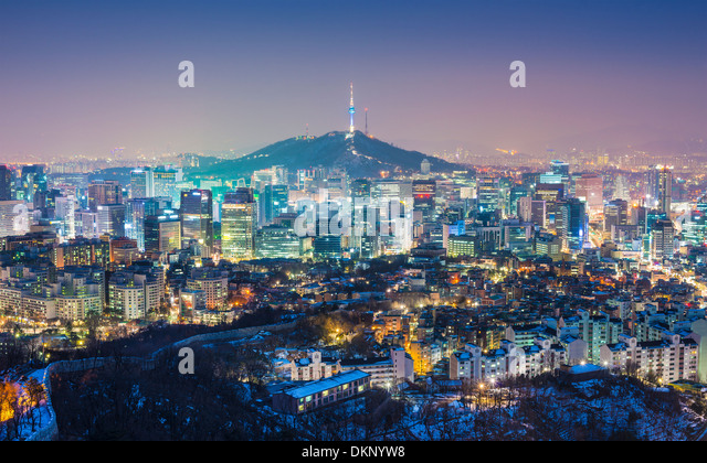 Seoul, South Korea evening skyline. - Stock Image