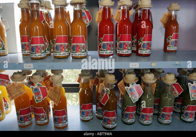 BVI Tortola Road Town Skyworld bottled sauces - Stock Image