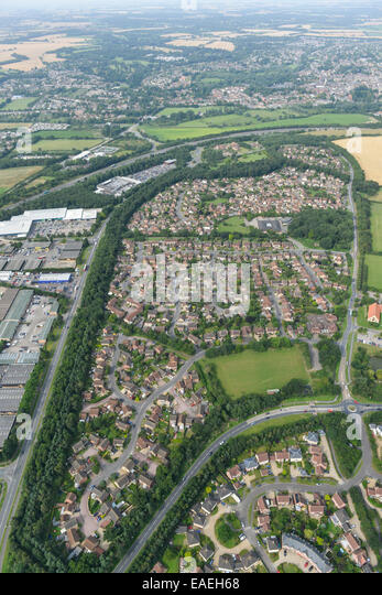 An aerial view of a residential area of Bury St Edmunds, Suffolk. - Stock Image