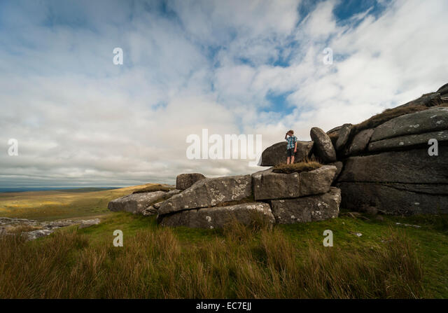 United Kingdom, England, Cornwall, Bodmin Moor, Rock formation Rough Tor - Stock Image