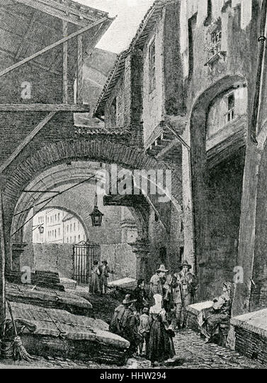 An Entrance to the Ghetto at Rome, c. 1850. - Stock-Bilder