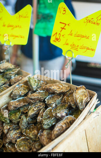 Oysters For Sale At Market Stall - Stock Image