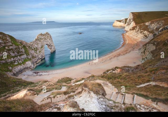 Durdle Door captured early morning, Dorset. - Stock-Bilder