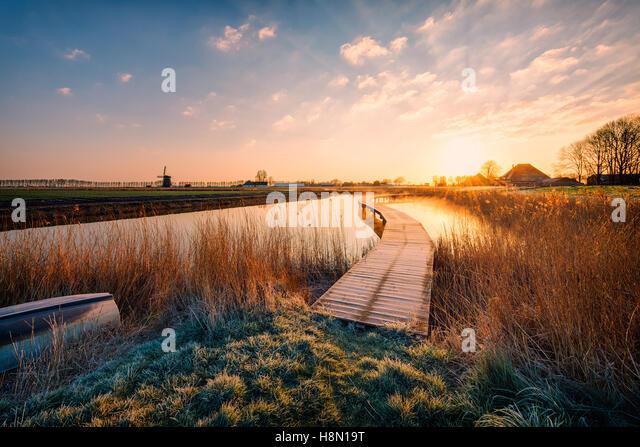 Dutch Polder Landscape at sunrise - Stock Image