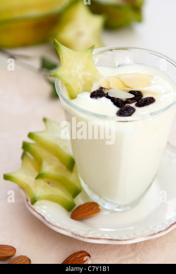 Healthy breakfast [yogurt with almond and star fruit ] - Stock Image