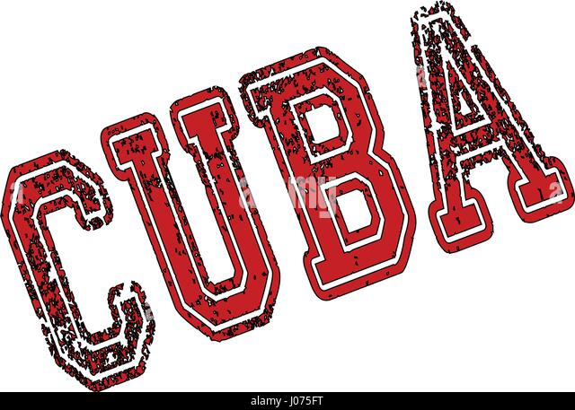 Cuba text sign illustration on white bachground - Stock Image