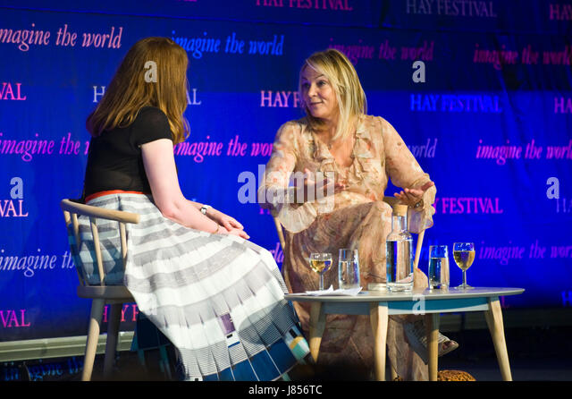 Helen Fielding talking about her new book Bridget Jones Baby on stage at Hay Festival 2017 Hay-on-Wye Powys Wales - Stock Image