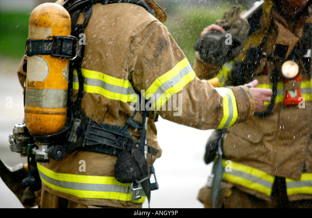 firefighters on the scene, Montreal, Quebec, Canada. - Stock Image